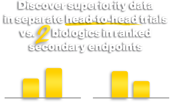 discover superiority data in separate head-to-head trials vs. 2 biologics