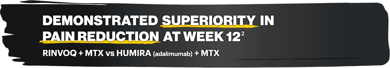Demonstrated superiority in pain reduction at week 12: RINVOQ + MTX vs HUMIRA (adalimumab) + MTX