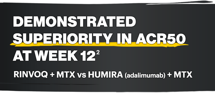 Demonstrated superiority in ACR50 at week 12: RINVOQ + MTX vs HUMIRA (adalimumab) + MTX