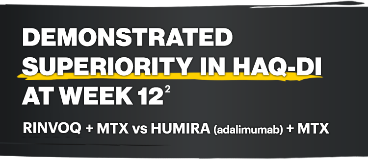 Demonstrated superiority in HAQ-DI at week 12: RINVOQ + MTX vs HUMIRA (adalimumab) + MTX