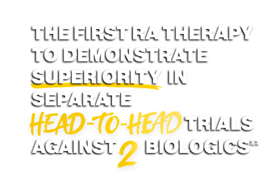 The first approved RA therapy to demonstrate superiority in a head-to-head trial vs HUMIRA (adalimumab) + MTX